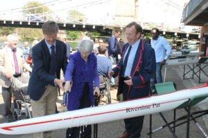 Rivertime Pat naming ceremony (l-r) Richard Buckeridge, Marlow Rowing Club Member, Pat Davis, Rivertime Boat Trust co-founder, Jonathan Walne, Marlow Rowing Club Captain; credit MRC