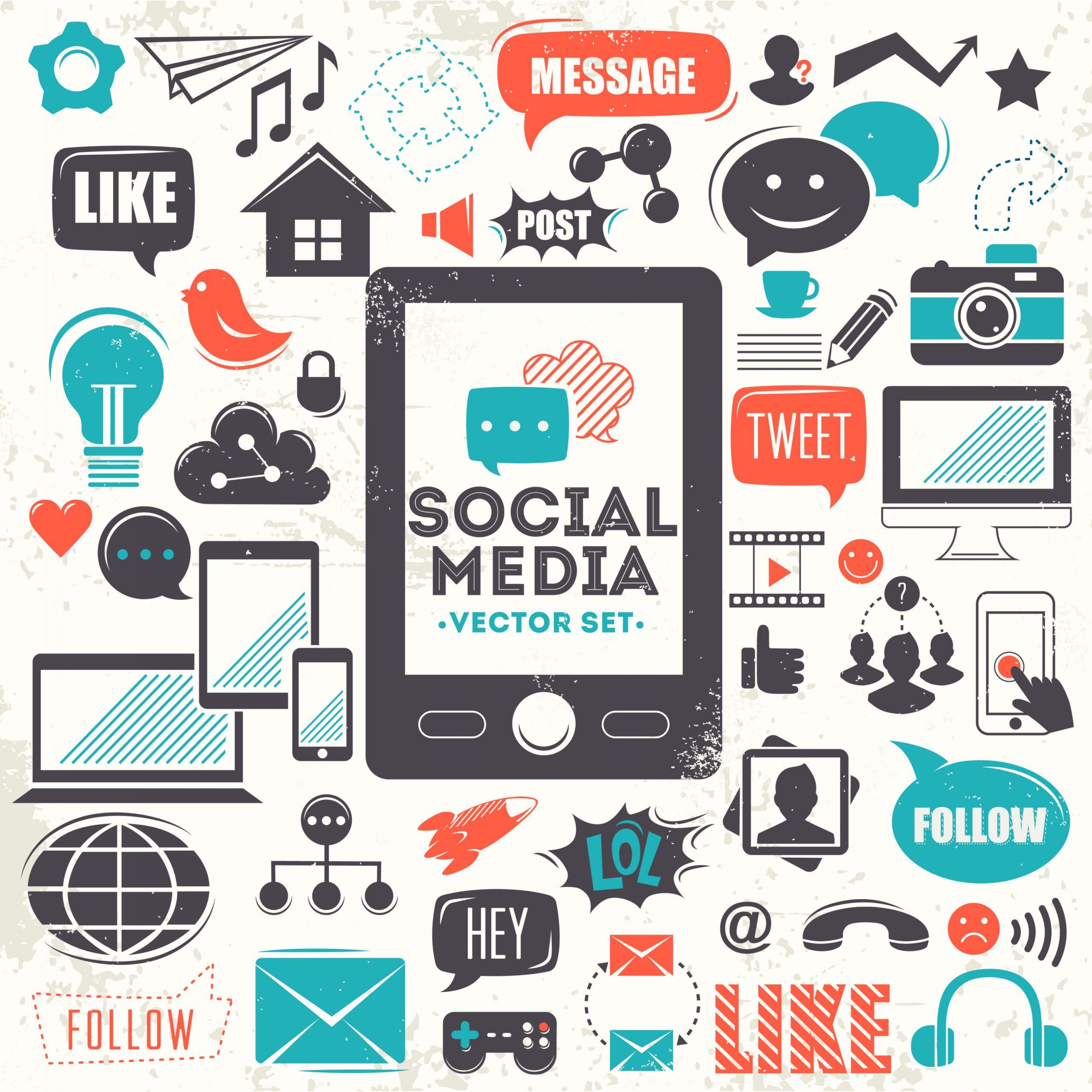 Social media symbols in a mindmap